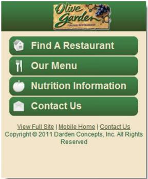 Olive Garden's Mobile Website